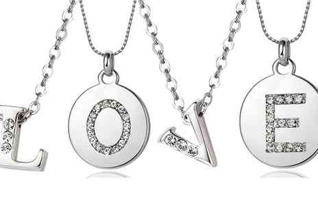 Neverland Sales - Neverland Sales Initial Necklace or Letter Medallion with Crystals from Swarovski With Free Delivery - Save 89%