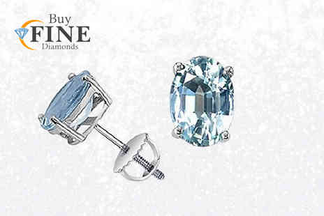 Buy Fine Diamonds - Pair of aquamarine stud earrings - Save 84%