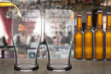 CNC Group - Set of two, four or eight personalised engraved beer glasses - Save 54%