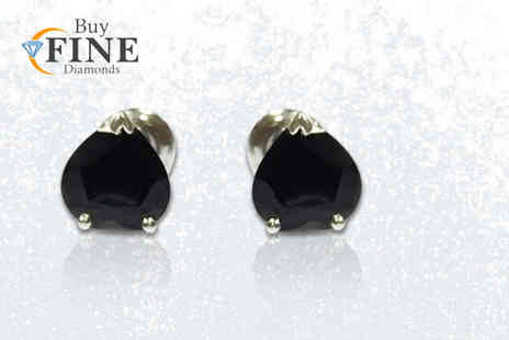 Buy Fine Diamonds - Pair of royal blue heart shaped sapphire earrings - Save 69%