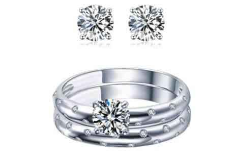 Groupon Goods Global GmbH - Sreema London Galaxy Engagement Ring and Earrings Gift Set - Save 32%