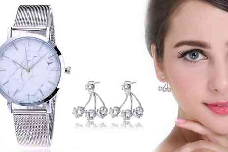 Groupon Goods Global GmbH - Silver Shine Earrings, Marble Dial Watch or Set - Save 80%