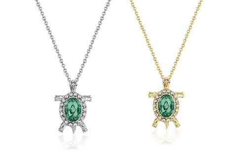 Neverland Sales - One or Two Mestige Emerald Sea Turtle Necklaces with Crystals from Swarovski With Free Delivery - Save 79%