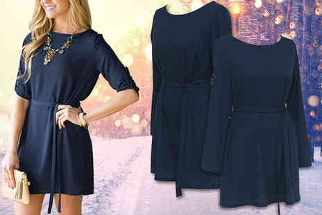Shop Chainz - Navy long sleeve dress choose from Uk sizes 10 To18 - Save 84%
