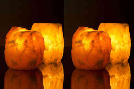 Himalayan Salt Suppliers - Four Himalayan salt candle holders - Save 74%