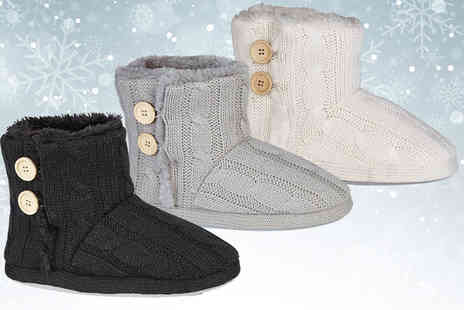 MY UL - Pair of womens bootie slippers choose from three colours - Save 57%