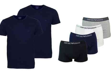 Groupon Goods Global GmbH - Emporio Armani Two Pack Tshirts or Three Pack Boxers - Save 0%