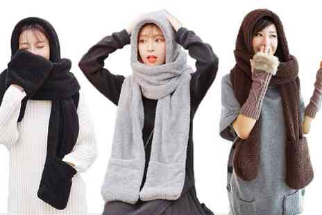 Groupon Goods Global GmbH - Up to Four Three in One Fleece Hat, Scarf and Gloves Accessories - Save 70%