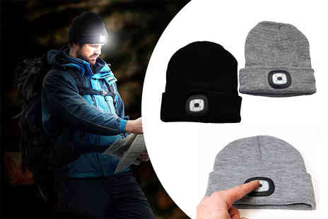 Spot Promotions - Knitted beanie with an integrated 4 LED headlamp choose black or grey - Save 63%
