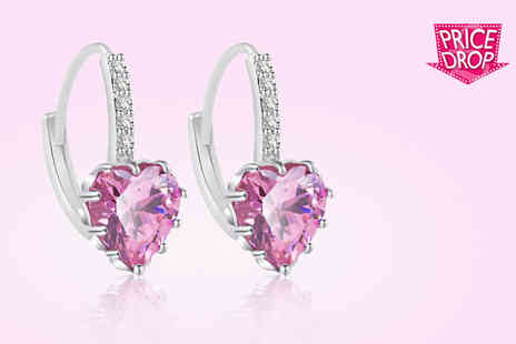 Your Ideal Gift - Pink heart crystal sapphire earrings - Save 86%