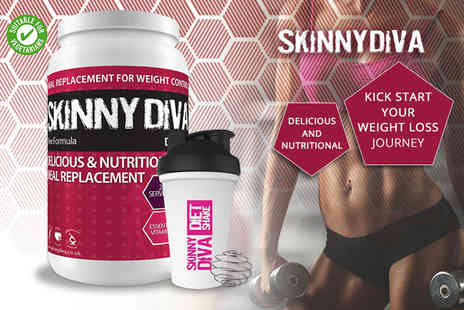 Skinny Diva - Four or eight week Skinny Diva meal replacement diet shake and shaker - Save 52%