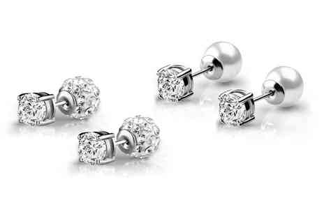 Groupon Goods Global GmbH - Philip Jones Reversible Pearl or Shamballa Earrings with Crystals from Swarovski - Save 87%