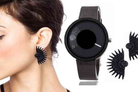 Groupon Goods Global GmbH - Black Magic Watch and Earrings Set - Save 80%