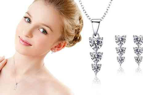 Groupon Goods Global GmbH - Sreema London Trio Heart Necklace and Earrings Set - Save 80%
