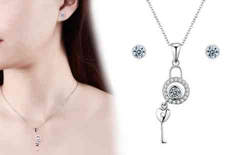 Groupon Goods Global GmbH - Sreema London Unlock Your Heart Silver Necklace and Earrings Set - Save 80%