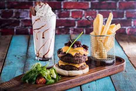Grill & Shake - Burger, All You Can Eat Chips and Milkshake for Two or Four - Save 0%