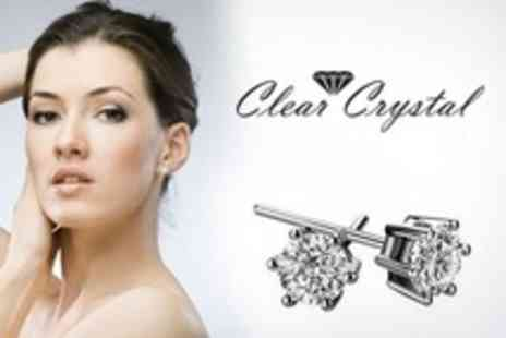 Clear Crystal - Solitaire Pendant and Stud Earrings Set With Swarovski Elements - Save 83%