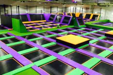 Jump Arena - One or Two Hour Trampoline Park Open Jump Session for One, Two or Four - Save 30%