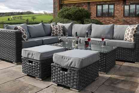 Groupon Goods Global GmbH - Yakoe Eight Seater Rattan Effect Corner Sofa Set With Free Delivery - Save 16%