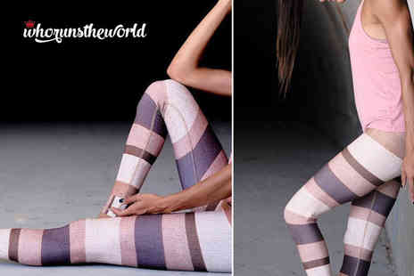 Who Runs the World - Pair of striped pastel yoga leggings - Save 65%