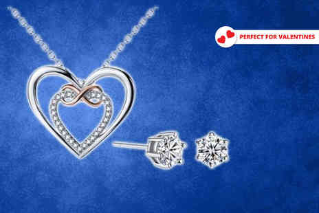 Your Ideal Gift - Infinity necklace made with crystals from swarovski, optional earrings - Save 87%