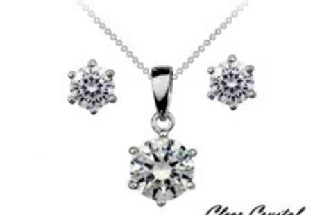 Clear Crystal - Swarovski Elements Crystal Solitaire Pendant & Matching Earrings with 18k White Gold - Save 83%