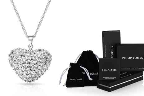 Groupon Goods Global GmbH - One or Two Philip Jones Pave Crystal Heart Necklaces - Save 87%