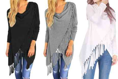 Groupon Goods Global GmbH - Womens Fringed Wrap Style Cardigan - Save 0%