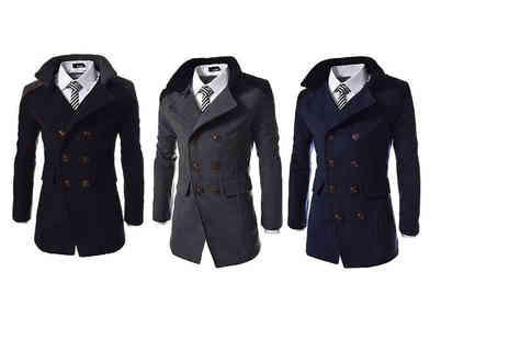 Blu Apparel - Mens contrast collar smart coat choose from black, navy and grey - Save 67%