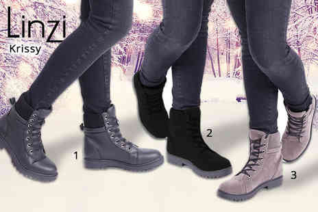 Linzi - Womens winter lace up boots in two styles - Save 50%