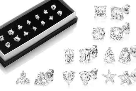 Groupon Goods Global GmbH - One, Four or Seven Pairs of Philip Jones Stud Earrings with Crystals from Swarovski - Save 86%