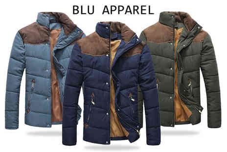 Blu Apparel - Mens contrast shoulder padded jacket - Save 0%