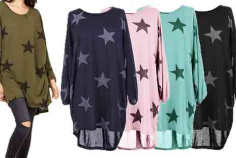 Groupon Goods Global GmbH - Oversized Womens Top with Star Print - Save 0%
