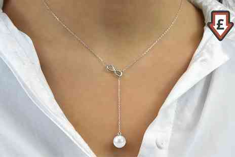 Groupon Goods Global GmbH - One or Two Philip Jones Infinity Pearl Necklaces - Save 83%