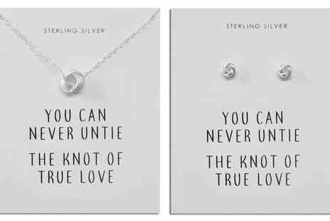 Groupon Goods Global GmbH - Philip Jones Sterling Silver Love Knot Quote Earrings and Necklace - Save 82%