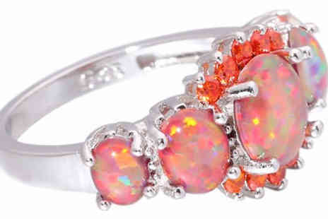 Richardson Group - Orange Fire Created Opal Ring Available in 8 Sizes - Save 82%