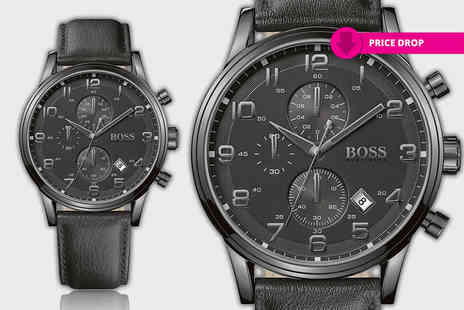 D2time - Hugo Boss black chronograph watch - Save 67%