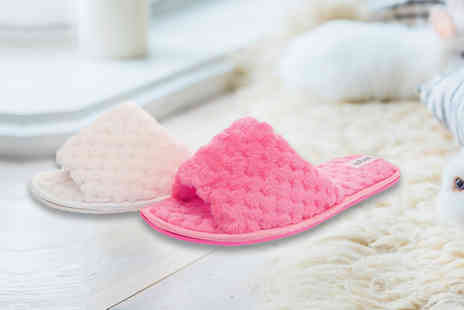 MY UL - Pair of fluffy slider slippers choose from two colours - Save 65%