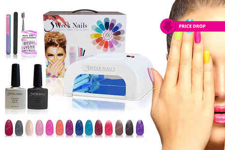 3 Week Nails - 12 or 15 piece UV gel nail polish and accessories kit - Save 85%