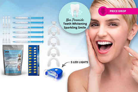 KAV Plus - Home teeth whitening set with six gels with an LED light or set with 10 gels and light - Save 92%