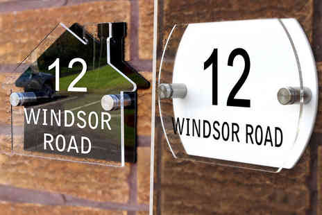 Deco Matters - Personalised acrylic house sign choose from two designs - Save 60%