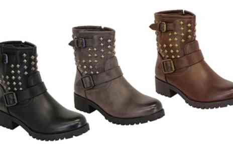 Groupon Goods Global GmbH - Womens High Top Studded Biker Boots in Choice of Colour - Save 0%