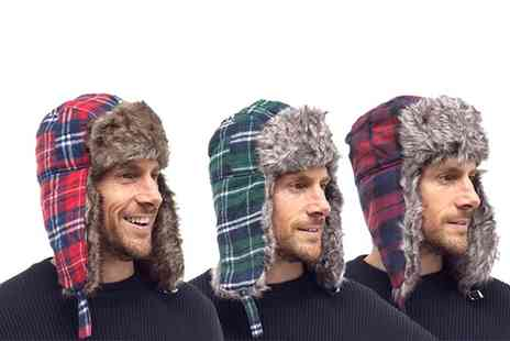 Groupon Goods Global GmbH - Mens Checked Trapper Hat with Faux Fur Lining - Save 0%