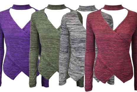 Groupon Goods Global GmbH - Be Jealous Choker Neck Marl Knitted Top - Save 0%