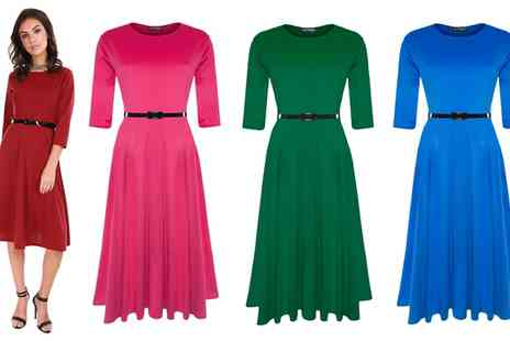 Groupon Goods Global GmbH - Three Quarter Sleeve Belted Dress - Save 48%