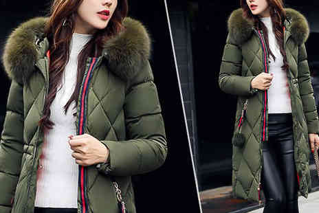 Best mall ever - Longline Puffer Jacket with Faux Fur Hood in 5 Colours - Save 75%