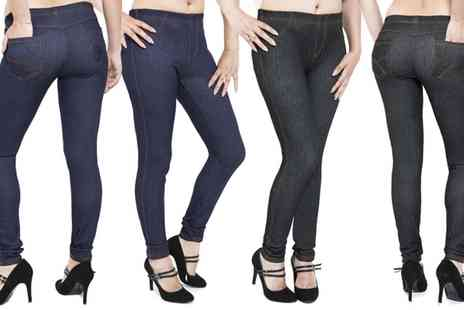 Groupon Goods Global GmbH - Womens Pocket Jeggings in Black or Blue - Save 80%