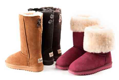 Groupon Goods Global GmbH - Womens Water Resistant Suede Boots with Sheepskin Lining With Free Delivery - Save 74%