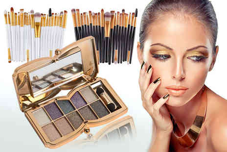 Forever Cosmetics - 20pc Eye Makeup Brush Set And 10 colour Eye Shadow Palette - Save 91%