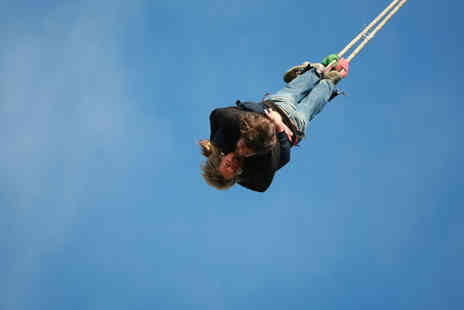 The UK Bungee Club - 160ft Valentines tandem bungee jump for two people with a glass of bubbly each - Save 36%